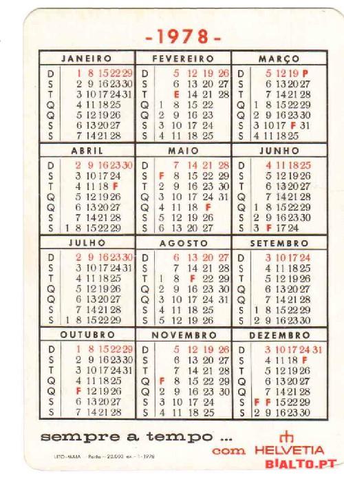 1978 Calendario.1 Calendario Do Ano De 1978 A Venda Bialto Pt