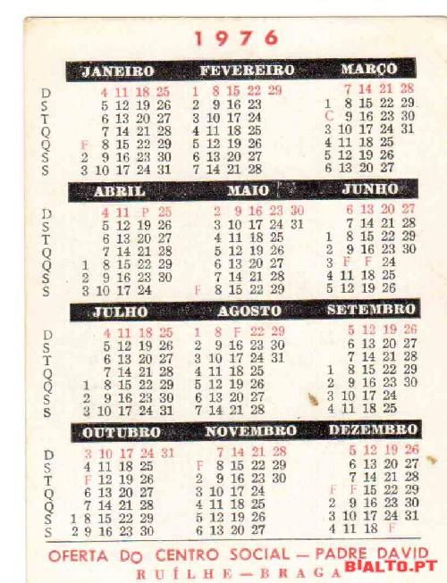 Calendario 1976.1 Calendario Do Ano De 1976 A Venda Bialto Pt